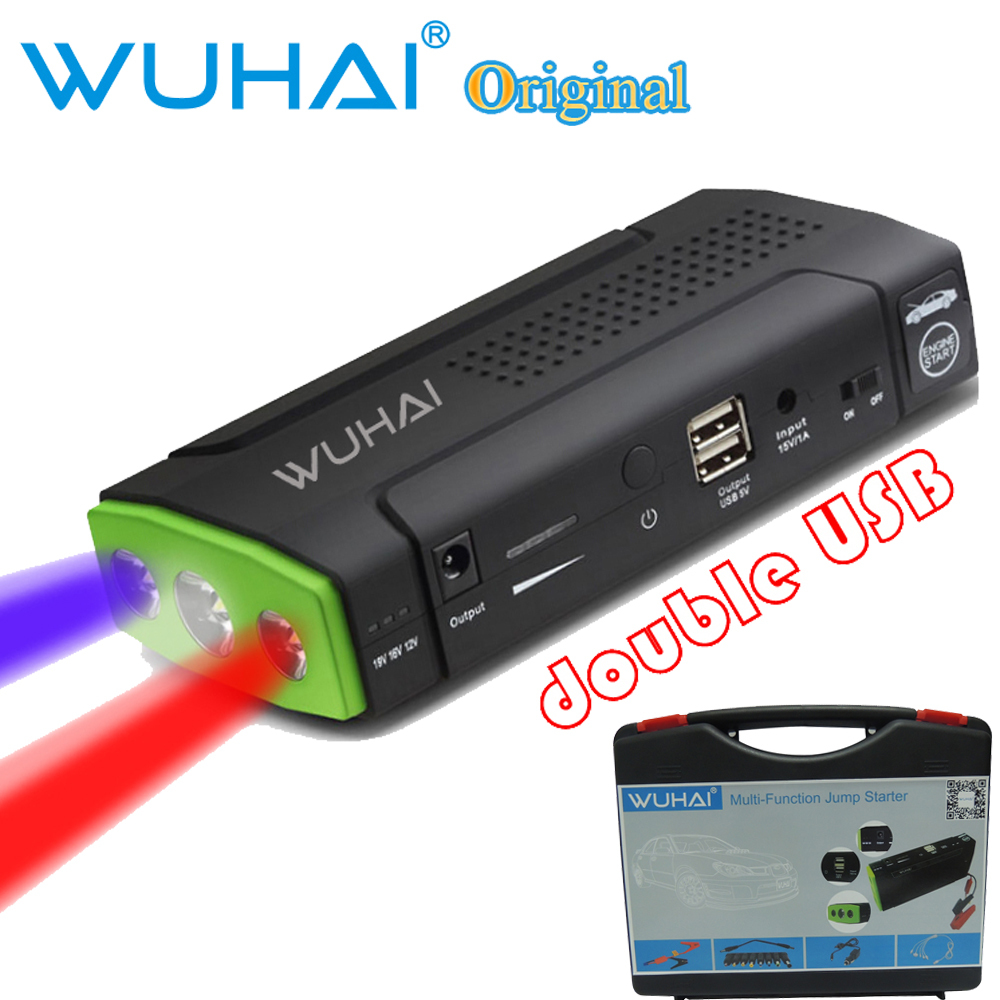 50800mAh WUHAI Original Car Jump Starter with three light bright strobe SOS /double USB-charger for electronics,mobile phone(China (Mainland))