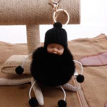 Chaveiro Bola de Pêlo de Coelho Pompom fofo Bebê Dormindo Saco Titular Acessório Charme Pingente Chaveiro Car Chaveiro Mulheres porte clef(China)