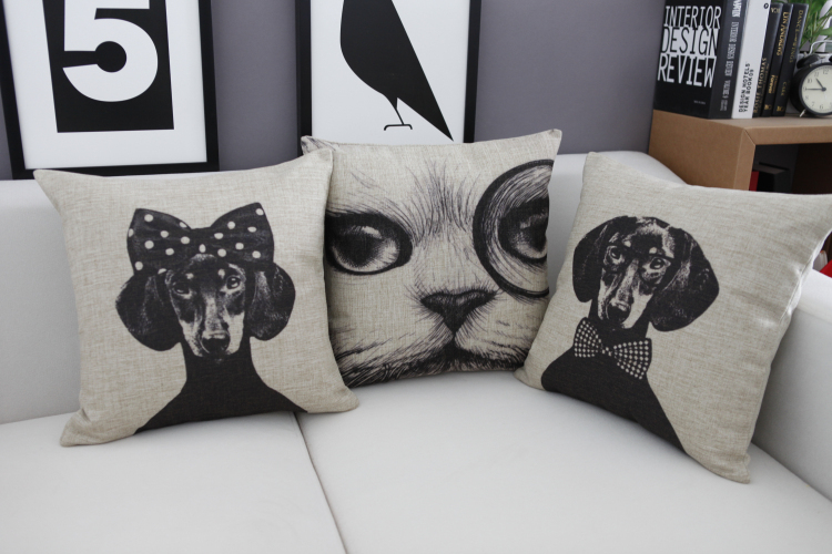 New Ikea Linen Pillow Cover Vintage Black Cats Bowknots dachshund Dog Pattern Cushion Cover Home Decorative Pillow Case 45x45cm(China (Mainland))