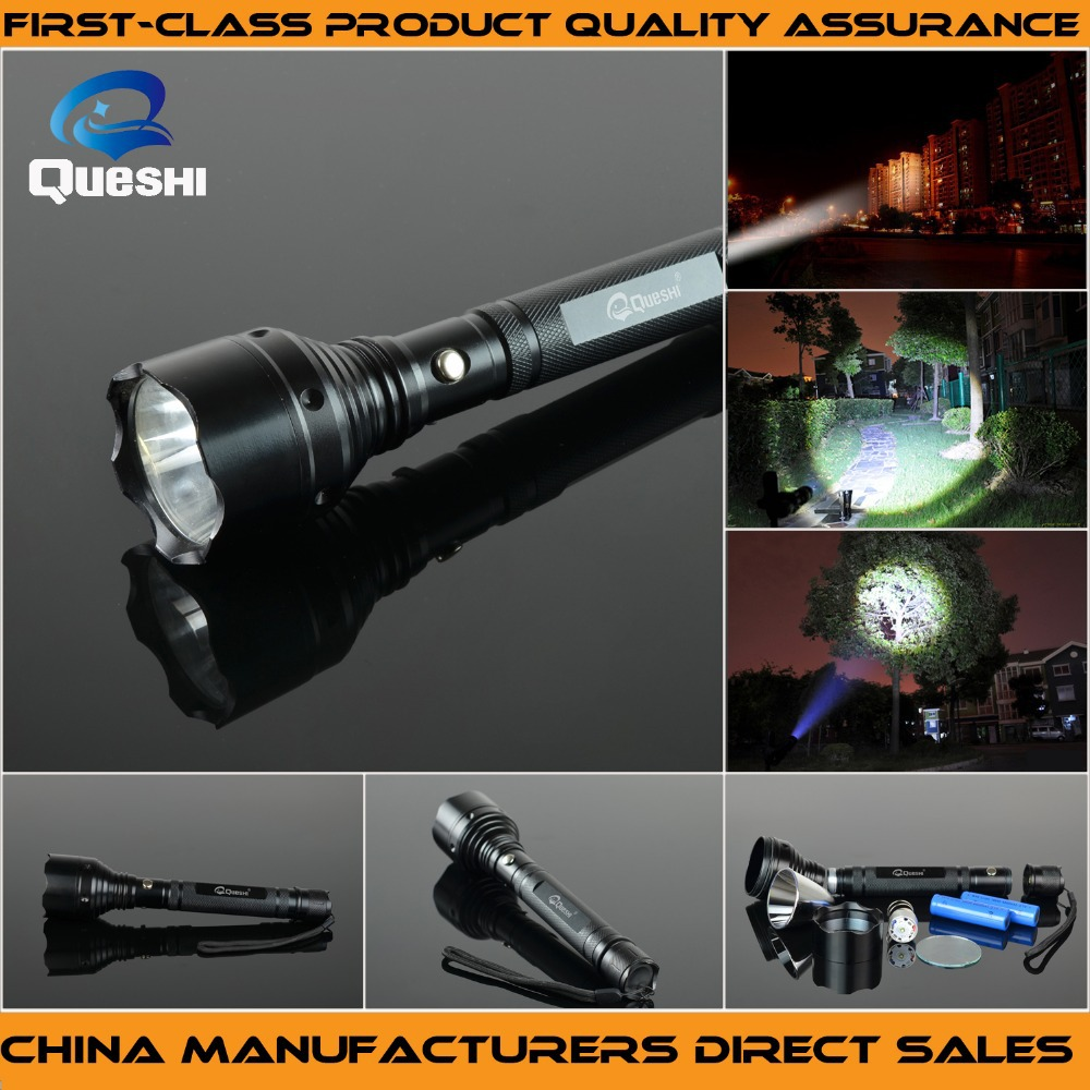 Queshi Cree Long Zoomable LED Flashlight Torch Outdoor Self-defense  Stick  for 18650 Rechargeable Flashlight <br><br>Aliexpress