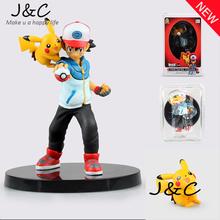 Free Shipping Pokemon Action Figure Toy Nendoroid Ash Ketchum Pikachu Action Figure Pokemon Red Anime Collectible Model
