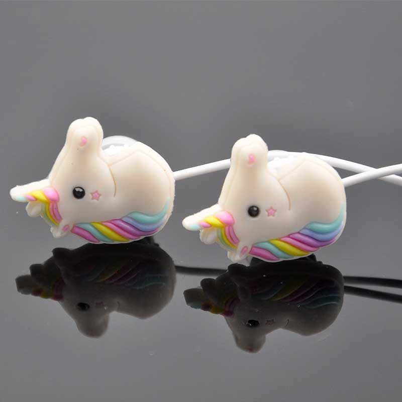 3.5mm Cartoon Cute Rainbow Horse In-ear Earphone Earbud With Mic Mini Earphone For Smartphone Ipod/Mp3/Mp4 Gift For Child Friend(China (Mainland))