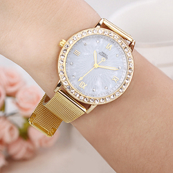 Elegant Ladies Crystal Roman Numerals Golden Plated Metal Mesh Band Business Wrist Watch New Design