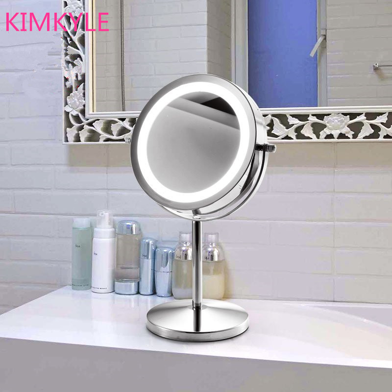Fashion hot-selling quality 7inches led make-up desktop mirror with light 2-Face mirror bathroom Battery power<br><br>Aliexpress