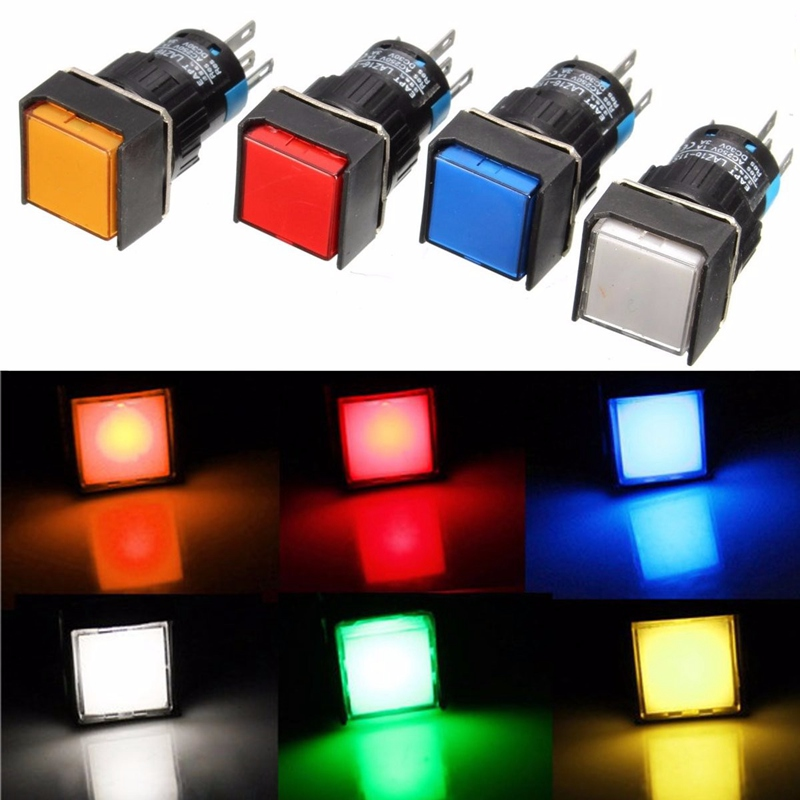 Brand New DC 12V Car Aluminum Metal Switch Blue Green Red Yellow White LED Push Button Latching Push On Start(China (Mainland))