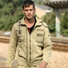 mens military jacket fashion Outdoor Man's Utility Zipped Military Jacket with Hood #9B123(China (Mainland))
