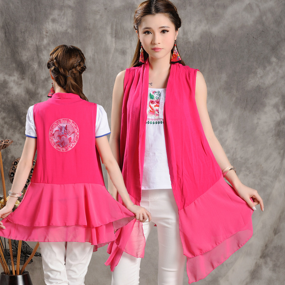 2015 Xia Zhongguo Wind national wind jacket vest waistcoat sleeveless long section of small shawl sun protection clothing 4162(China (Mainland))