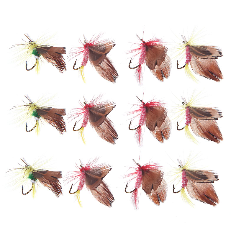 New Arrival 12pcs Fly Fish Fishing Hooks Fishing Lure Feather Steel Bait Hook Tackle Tool(China (Mainland))