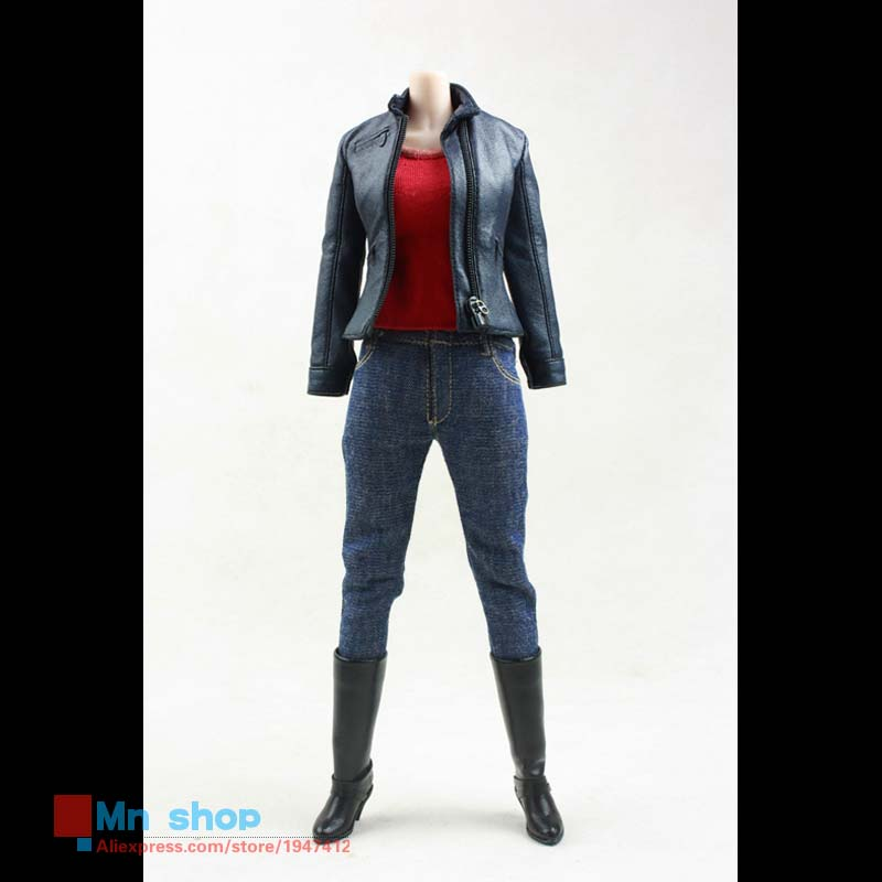 """POPTOYS F09 1/6 Scale The Avengers Black Widow Female Agents leather Plainclothes Clothing Set For 12"""" Action Figure Accessories(China (Mainland))"""