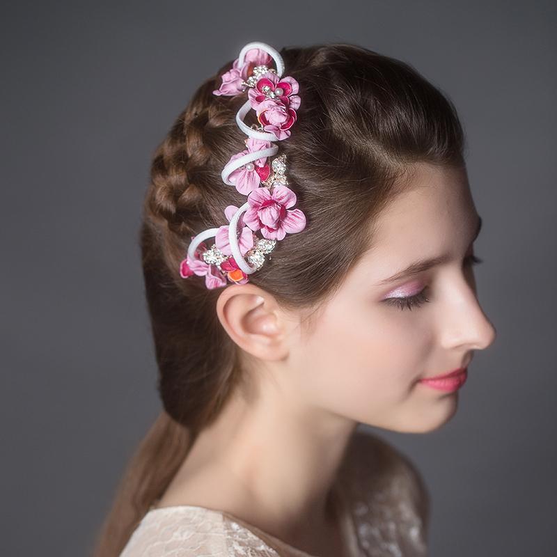 Hot Sale Pink Flowers Bridal Ribbon Headbands Wedding Hair Accessories Fashion Crystal Headpiece 75297(China (Mainland))