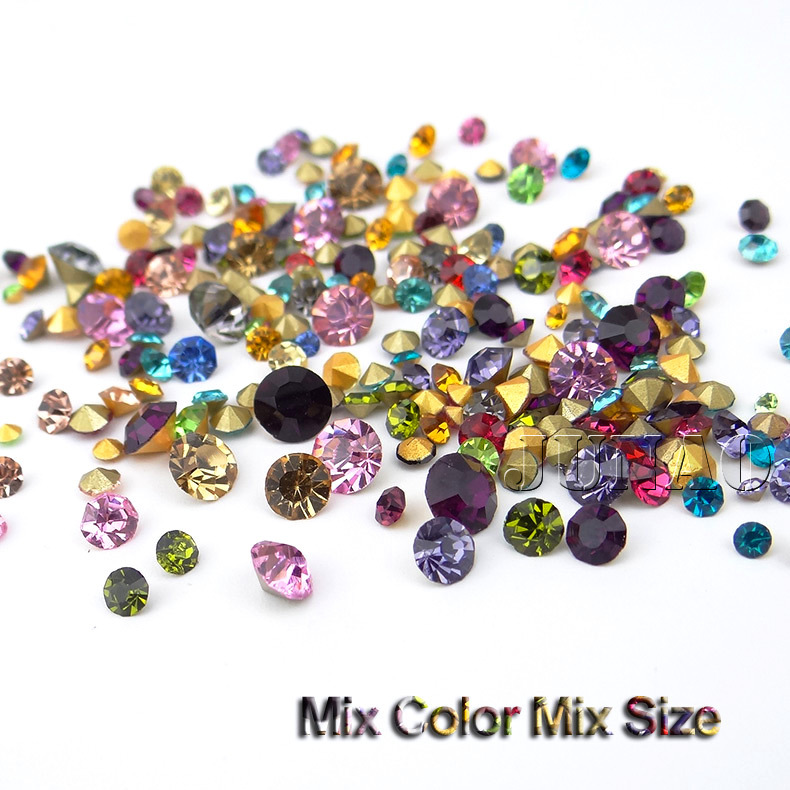 Mix Color Mix Size Point Back Glass Rhinestones Loose Strass Crystal Nail Art Stones For Crafts Dress Clothes Decorations 1100pc(China (Mainland))