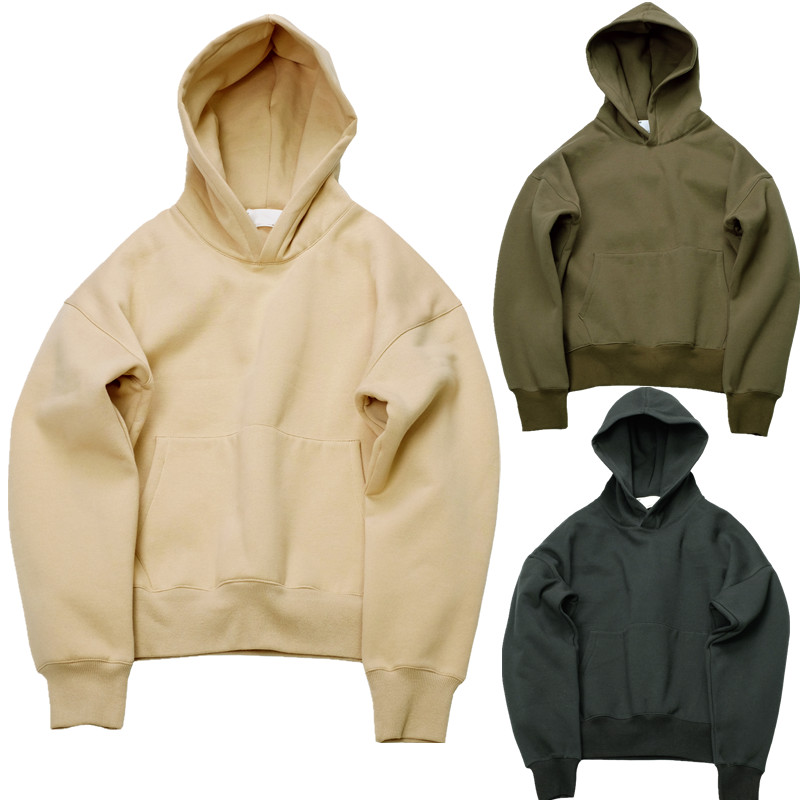 Very good quality nice hip hop hoodies with fleece WARM winter mens kanye west hoodie sweatshirt swag solid Olive pullover(China (Mainland))