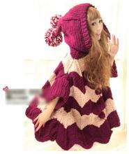 Princess sweet lolita coat cape cardigan with a large fairy hood hat long design cloak yar balls woman's sweater custom(China (Mainland))