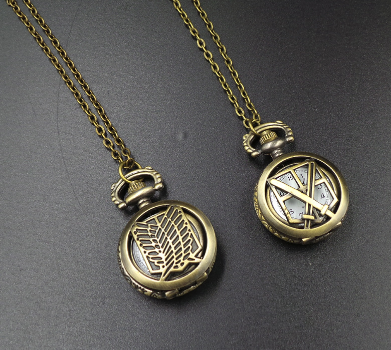 Child toy Attack on Titan Recon Corps Bronze antiques Children pendant anime action cosplay pocket watch with necklace for coser(China (Mainland))