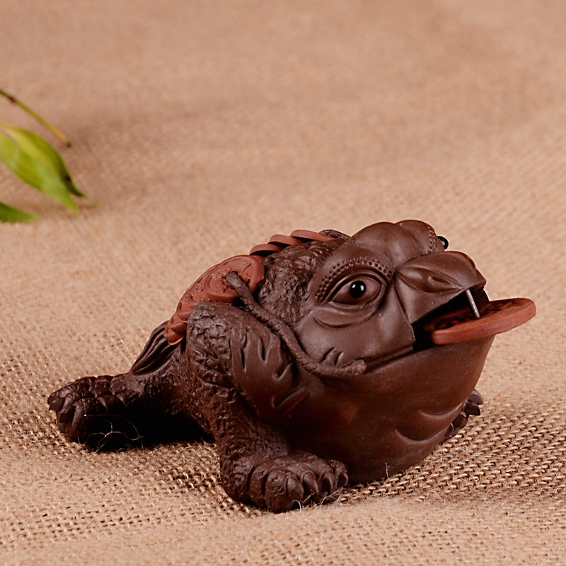 Purple gold lucky three-legged toad yixing tea pet decoration Large tea play(China (Mainland))