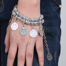 Women Attractive Jewelry Vintage Ethnic Punk Style Coins Tassel Rings Decor Bracelet Anklet New Recommend(China (Mainland))