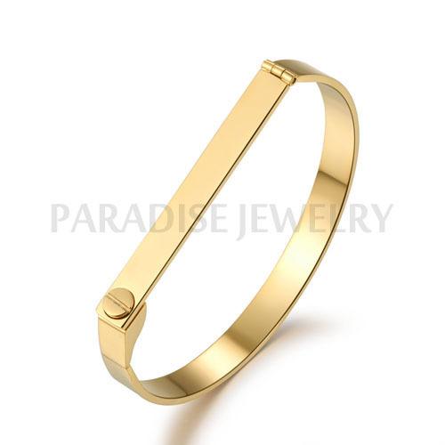 PARADISE JEWELRY flat screw bracelet love bracelets women cuff 18k rose gold bangle stainless steel silver - CO.,LTD store