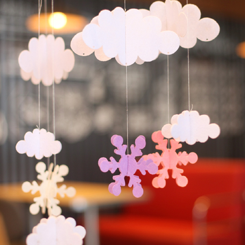 1 Set clouds hot air balloon stereo DIY Felt ornaments party supplies children room nursery Decoration Birthday Party Garland(China (Mainland))