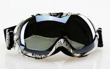 Бесплатная доставка белый / черный каркас с двумя объективами — anti-туман лыжная сноуборде очки темный дым объектива новый сноуборд