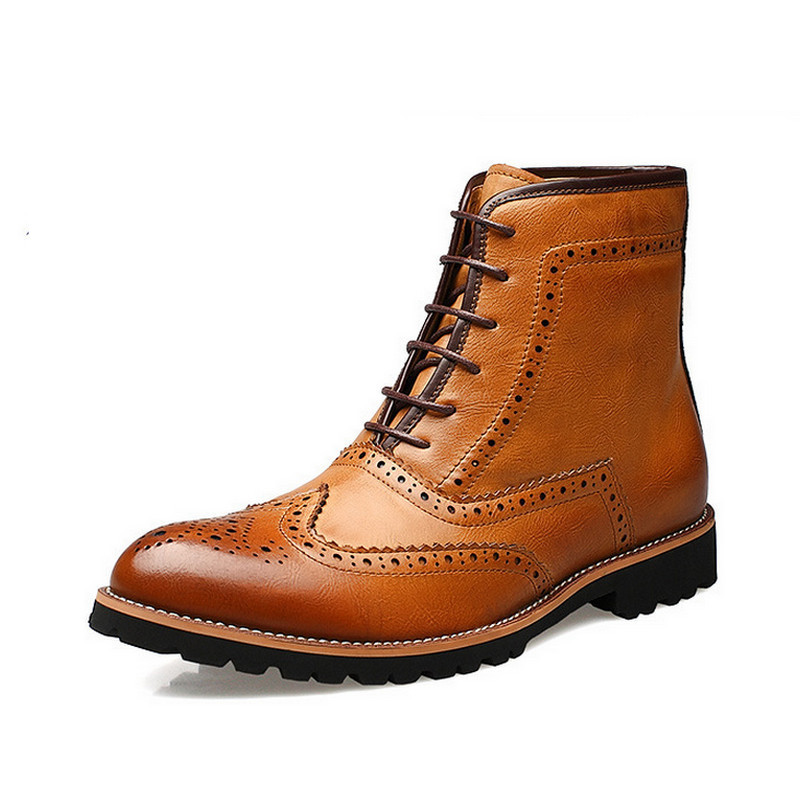 Гаджет  New Fashion Men Boots Genuine Leather Winter Boots Men Brogues Shoes Ankle Boots Top Quality None Обувь