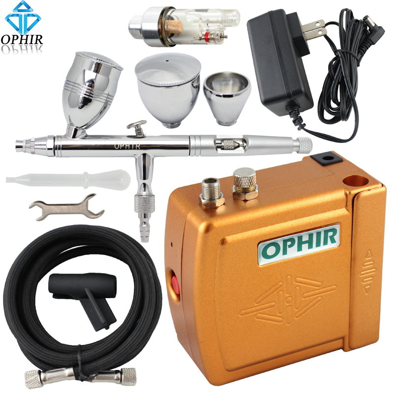 OPHIR PRO0.5mm Dual Action Airbrush Kit with Mini Air Compressor for Makeup/Nail Art/Cake Decorating Hobby _AC003G+AC006+AC011(China (Mainland))