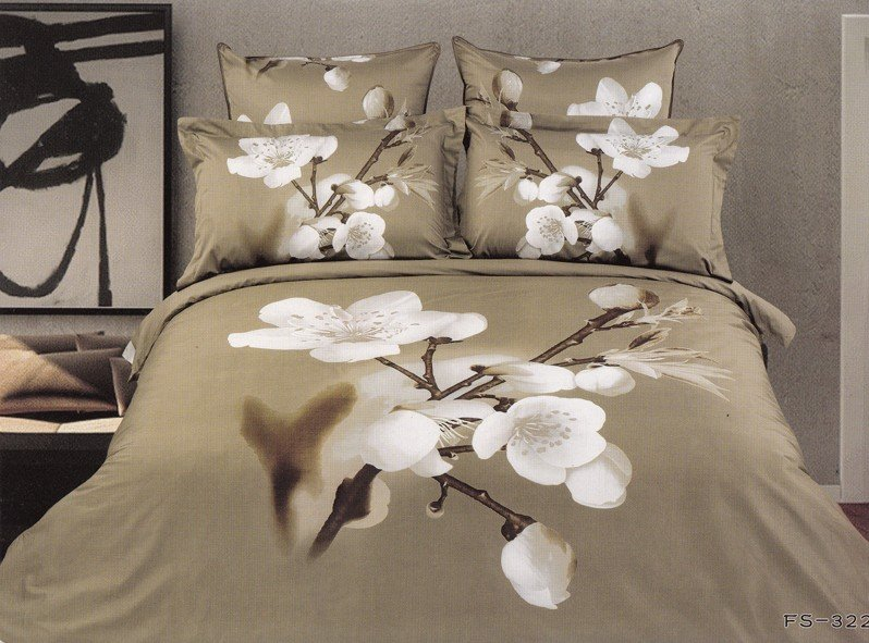 Hot Fashion New Beautiful 100% Cotton 4pc Doona Duvet QUILT Cover Set bedding set Queen/ King size white Peach Blossom(China (Mainland))