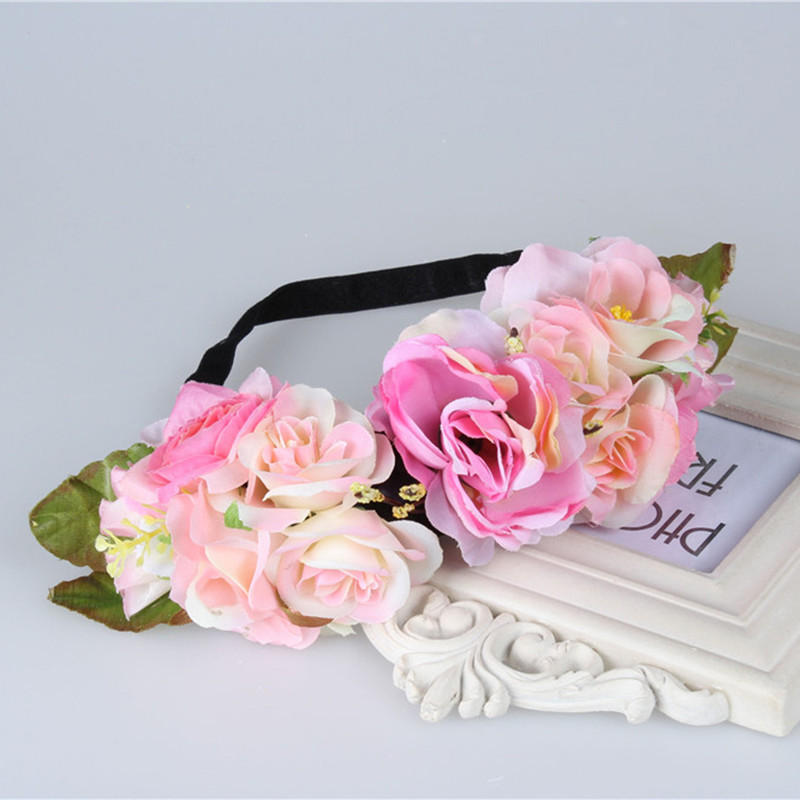 New multi color Rose Flower Forehead Hair Wedding Wreath Head Band Girls Baby Hairband Headbands Festival