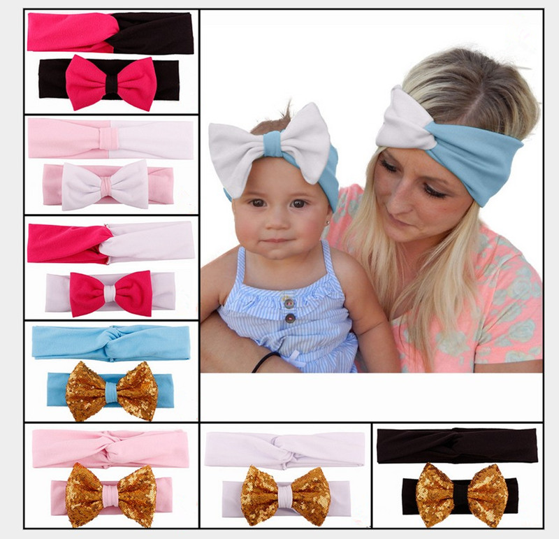 2pcs Baby Girls Toddlers Newborn Photography Props Kids Infant Parent-Child Mom Headband Hairband Hair Accessories Bow Headbands(China (Mainland))