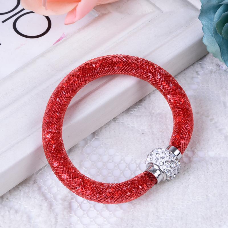 Гаджет  Hot Full Shining Multicolor Crystal Stardust Bracelet With Wrap Mesh Magnetic Clasp Ball Jewelry Fashion Bracelet None Ювелирные изделия и часы