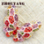 Top Quality ZYX017 Colorful Butterfly Crystal Brooches Small Size  Champagne Gold Plated  Jewelry Austrian Crystal  Wholesale