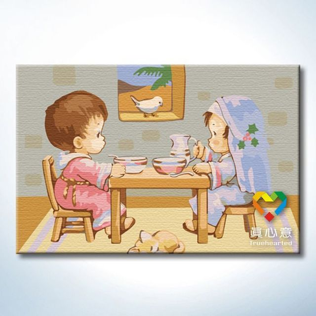 - cherry colored drawing diy digital oil painting cartoon painting - 20 30