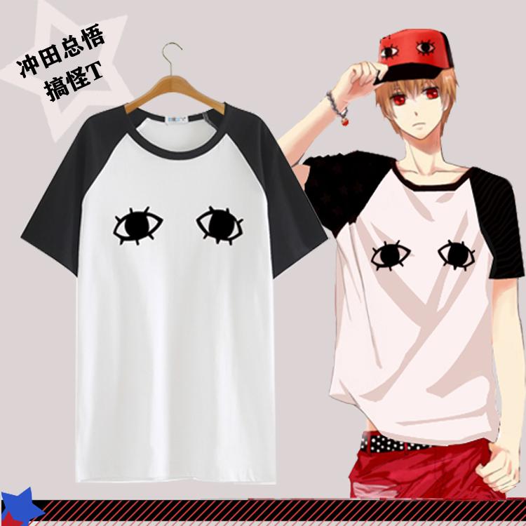 Gintama T shirt Anime Silver Soul Okita Sougo Cos Costume Eye Pattern T-shirt Casual Men Women Tops Tee