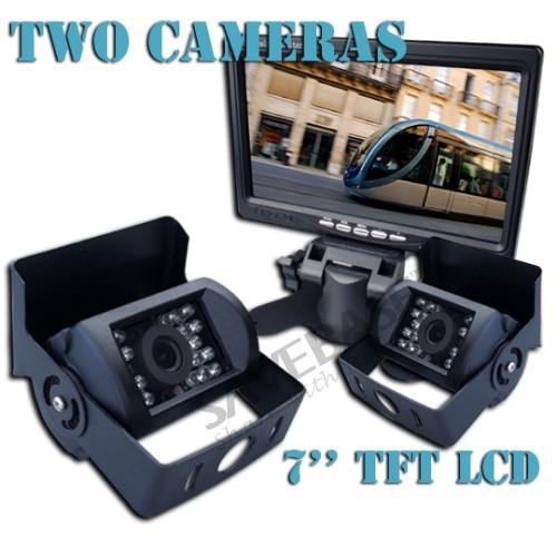 """SAVEBASE 12-24V Car Reverse Camera Kit With 7"""" TFT LCD Monitor + 2 CMOS IR Backup Cameras(China (Mainland))"""