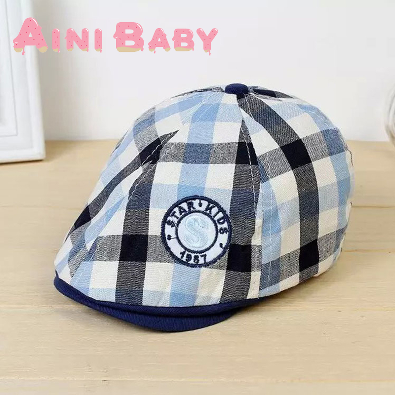 Hot Selling! Grid Lattice Plaid Design England Style Baby Hat Baby Cap Kid Beret Hat For Girl Cap For Boy Hat Child Beret Cap(China (Mainland))