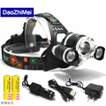 10000 Lumens Headlight XM L 3T6LED Head Light 4 Modes Zoom Adjust Focus Headlamp Lantern Hunting