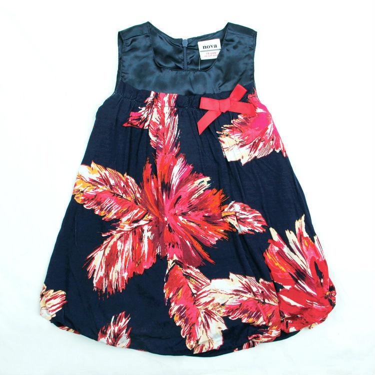 Nova brand new kids cotton navy dress baby girls printing flower wear sleeveless bow children clothing