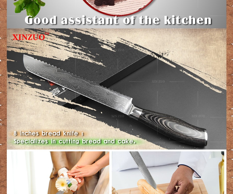 "Buy xinzuo 8"" inch bread knife high quality cake knife 73 layers Damascus kitchen knife with Color wood handle free shipping cheap"