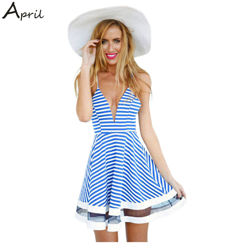 sexy summer dress 2015 new desigual women striped dress casual beach v-neck spaghetti strap mini dresses to party ropa mujer(China (Mainland))