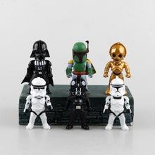 Star Wars 6 unids/set caballero negro Darth Vader de guerrero blanco Storm trooper llevó la luz de 10 CM acción PVC Doll juguetes figuras