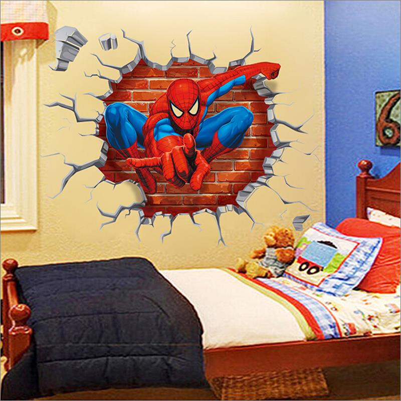 Http Www Aliexpress Com Item 2015 3d Spiderman Wall Stickers For Kids Rooms Decals Home Decor Personalized Kids Nursery Wall Sticker 32598948830 Html