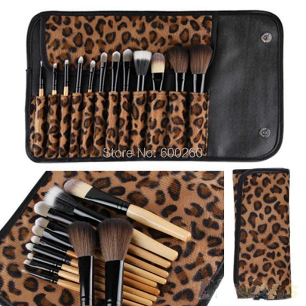 2015 Professional Makeup kits 12 PCs Brush Cosmetic Facial Make Up Set tools With Leopard Bag makeup brush tools hot sales(China (Mainland))