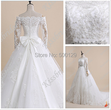 Buy 2016 Graceful Lace Appliques Wedding Dress Bow Back Bateau Neck Line Long Sleeve Chapel Train Bridal Dress Gown Custom Made for $215.10 in AliExpress store