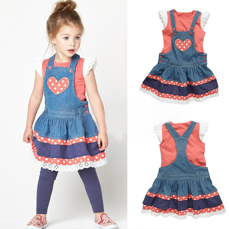 New 2015 Girls Denim Love Dress + Orange Lace T shirt set Summer Children casual suit kids cotton fashion top wear 6set Hot Sale<br><br>Aliexpress