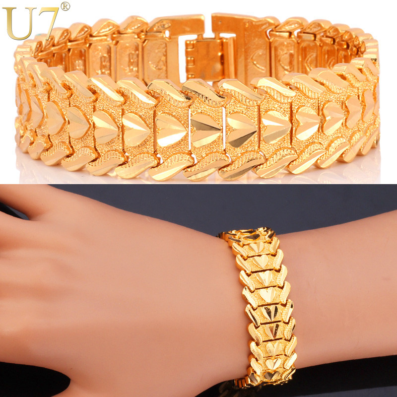 Heart Bracelet Romantic Lovers' Jewelry Platinum/18K Gold Plated Carving Wristband 10MM 20 CM Chain Bracelet Wholesale H684(China (Mainland))