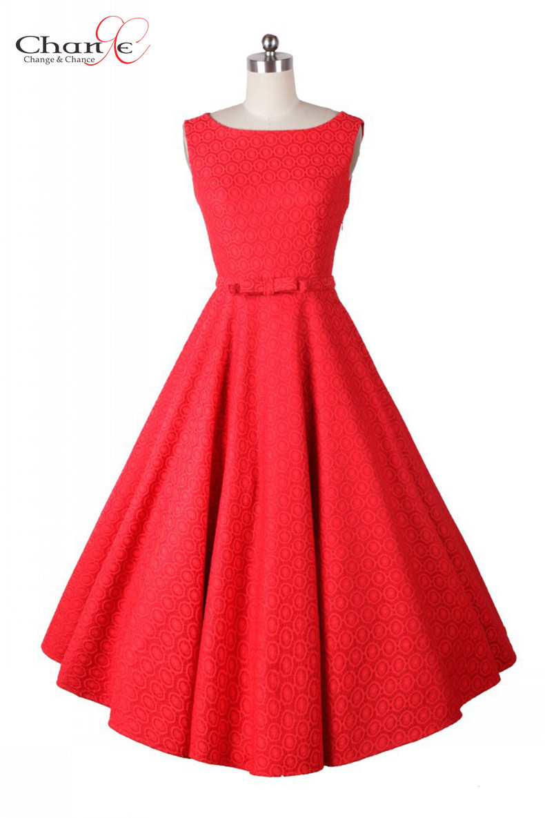 Solid Color Fit And Flare Dress