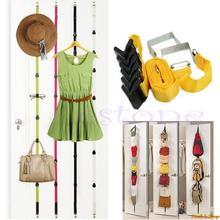 Over Door Straps Hanger 8 Hooks Adjustable Hat Bag Clothes Coat Rack Organizer Free Shipping(China (Mainland))