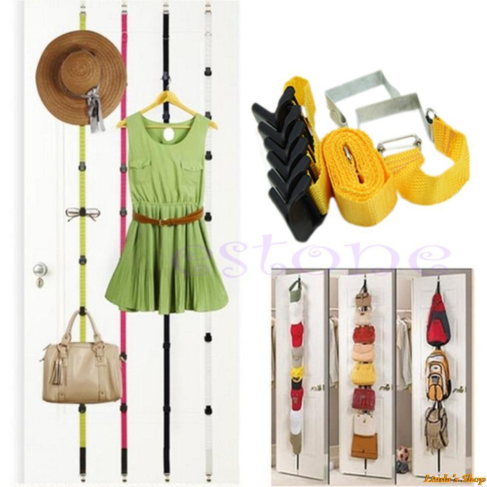 Over Door Straps Hanger 8 Hooks Adjustable Hat Bag Clothes Coat Rack Organizer Free Shipping(China (Mainland))