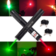 Adjustable Focus Burning Match Lazer 301 Red Green Laser Pointer Pen with Safe Key for Sale New Arrival