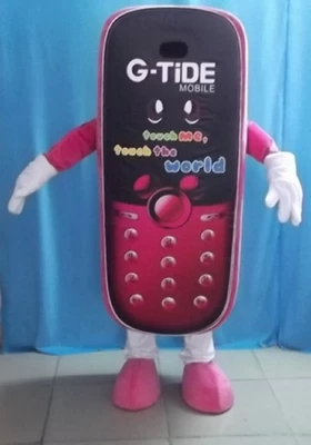 Fancy Dark Pink Cellphone Mobile Phone Mascot Costume Cell Phone Handset Wearing Pink Shoes Adult Size Free Shipping(China (Mainland))