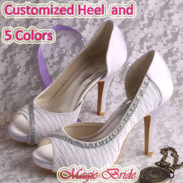 FREE SHIPPING Open toe High Heel Lady Wedding Shoes White Sandals Summer Custom Handmade(China (Mainland))